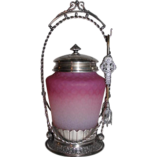 RARE Middletown #155 Aesthetic Victorian Pickle Castor~ Circa 1880's~Outstanding Pink Satin Diamond Quilted Art Glass Insert