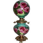 "Outstanding  Gone with the Wind Oil Lamp with ROSES ~RARE 11"" Shade ~ Outstanding Fancy Ornate Handled Font Spill Ring and Base~Original Parts"