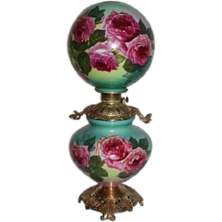 """Outstanding  Gone with the Wind Oil Lamp with ROSES ~RARE 11"""" Shade ~ Outstanding Fancy Ornate Handled Font Spill Ring and Base~Original Parts"""