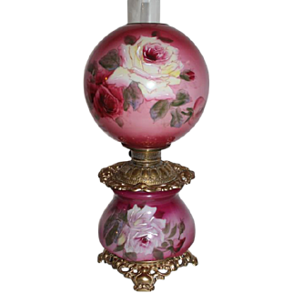 "Outstanding Hand Painted Gone with the Wind Oil Lamp with ROSES ~ 10"" Shade ~ Outstanding Fancy Ornate Font Spill Ring and Base~ Original Parts"