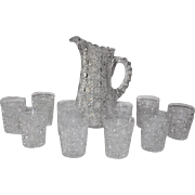 """Extremely Fine American Brilliant Cut Glass Water 11 Piece Set in the """"Harvard"""" Pattern"""