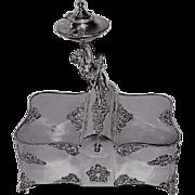 VERY RARE Derby Aesthetic Victorian Figural  Cherub Quadruple Silver Plated Victorian Dresser or Cigar Box~ Circa 1890's