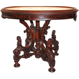 Outstanding 1870's Antique Renaissance Revival Walnut Marble Top Table with Four Carved Ladies~ Attributed to John Jelliff