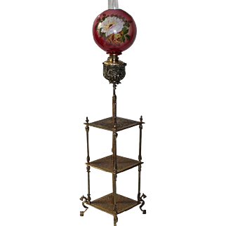 "Rare Antique Figural Griffin Triple Shelf Bradley & Hubbard Ornate Piano/Organ Floor Lamp ~RARE Original Hand Painted 13"" Shade ~ Original Oil Burning Condition."