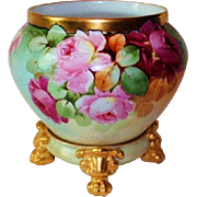 "WOW!! RARE OUTSTANDING B&Co LIMOGES Jardiniere with Matching Base ~ Listed Artist ""Facest"" ~  Completely Hand Painted ~ Wonderful Colors!!"