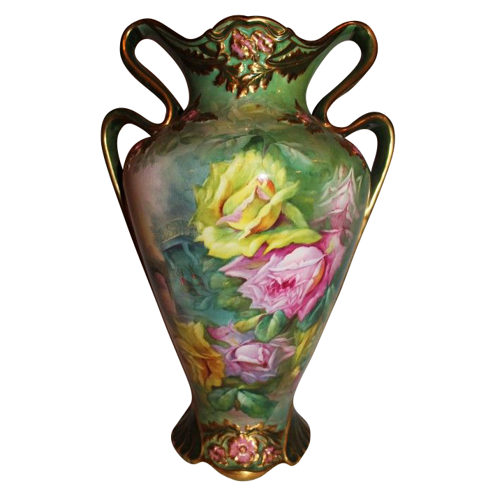 "Breathtaking HAND PAINTED ROSES ~ LARGE Museum Quality Masterpiece Franz Mehlem Royal Bonn Stunning Still Life Painting on Porcelain ~ Signed by the Artist "" M. Dirkmann"" ~ Magnificent Piece of Fine Art ~ Heirloom Treasure ~ Collector Piece"