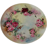 Truly Magnificent LARGE Antique Limoges France  Charger Tray ~ Breathtaking Hand Painted Roses ~ Masterpiece Watercolor Type of Painting ~ Superb Artistry Jean Pouyat JPL Circa 1890 – 1932