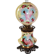 "LARGE Gone with the Wind Oil Lamp ~ 11"" SHADE ~ Masterpiece Breathtaking BEAUTY WITH HAND PAINTED ROSES AND CHERUBS ~ Outstanding Fancy Ornate Font Spill Ring and Base~ Original Condition ~Original Parts ~ Collector Piece ~"