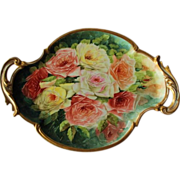 """WOW! LARGE 17"""" French Limoges Stunning Still Life  Painting on Porcelain Tray ~ Magnificent Piece of Fine Art ~ Collector Piece ~"""