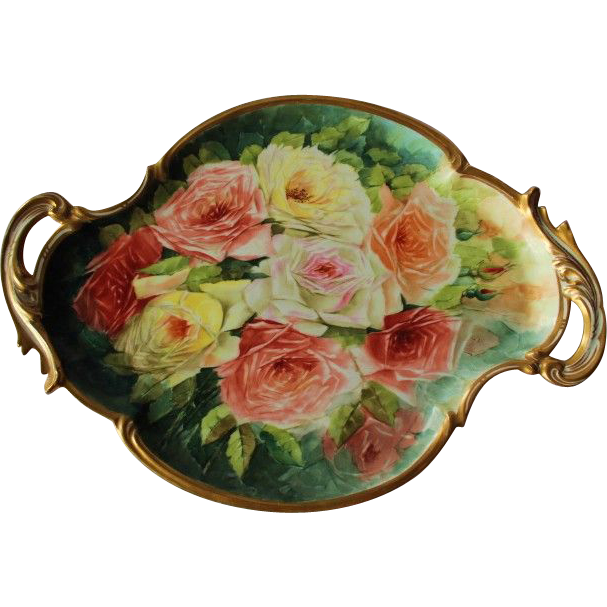 "WOW! LARGE 17"" French Limoges Stunning Still Life  Painting on Porcelain Tray ~ Magnificent Piece of Fine Art ~ Collector Piece ~"