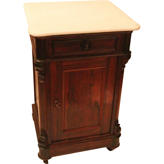 "WOW !!   Signed Thomas Brooks ROSEWOOD Rococo Lamp Table or Night Stand ""Half Commode"" ~White marble ~  1860's American Made"