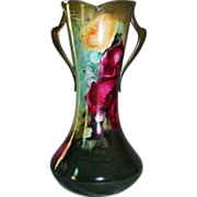 "WOW!!  Outstanding 16 3/4"" HUGE William Guerin Limoges Corset Vase ~ BRILLIANT HANDPAINTED ROSES  ~ Gorgeous Deep Colors  ~ Magnificent Piece of Fine Art ~ Collector Piece ~ Master Artistry  ~  Signed W.G. & Co 1900-1932."