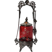 Enamel Floral Decorated Cranberry Pickle Castor
