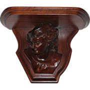 Carved Walnut Renaissance Revival Shakespeare Clock Shelf