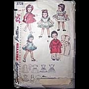 Toni Doll Wardrobe Pattern Simplicity 3728 Vintage 1950's