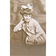 Original 1920's Photograph Little Girl With a Huge Hair Bow