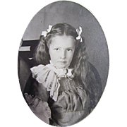Original 19th Century Cabinet Photograph Young Girl Dressed in Ribbons and Lace