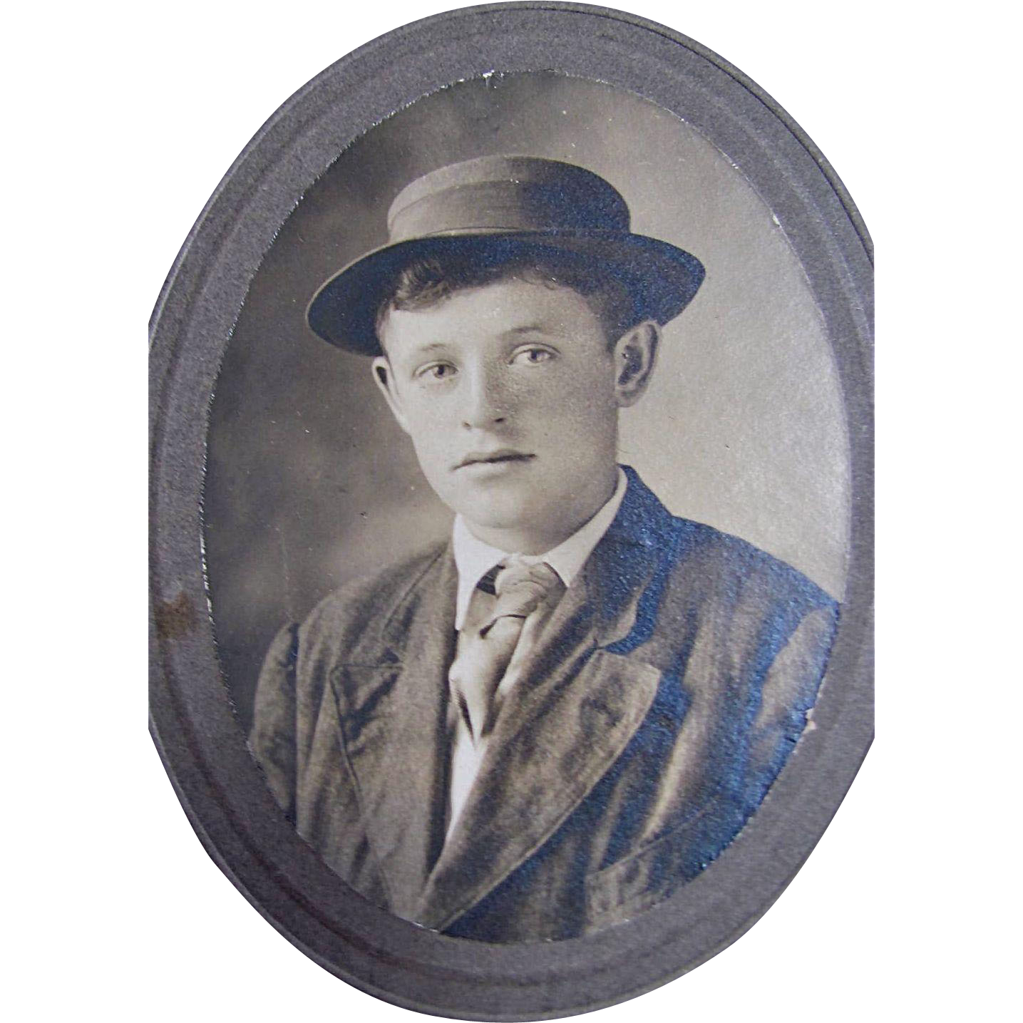 Original 19th Century Cabinet Photograph Young Boy Wearing Hat and Tie