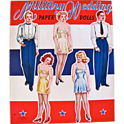 Military Wedding Paper Dolls, Uncut Complete, Original World War II, Saalfield Vintage 1943