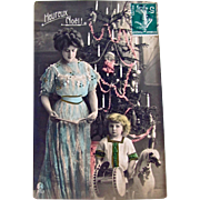 Tinted French RPPC, Mother and Child, Dolls, Toys, Decorated Christmas Tree, Real Photo Postcard, Vintage 1900s