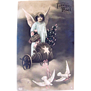 French RPPC, Angel, Doll, Christmas Tree in Chariot Pulled By Doves, Tinted Real Photo Postcard, Postmarked 1909