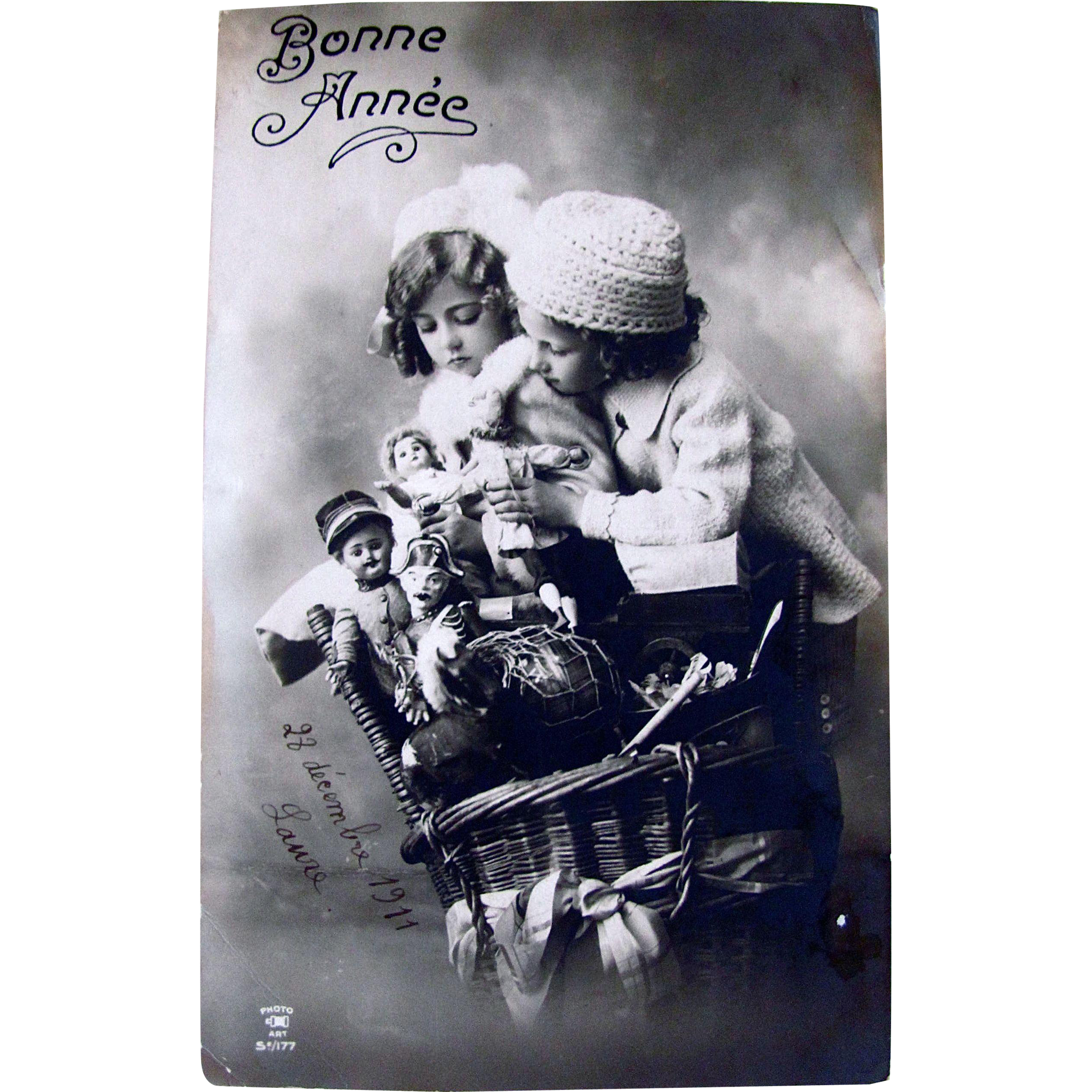 Bonne Annee, French RPPC, Two Children, Hamper Full of Dolls and Toys, Sepia Real Photo Postcard, Vintage 1911