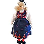 Ronnaug Petterssen Handmade Felt Doll, Norway, Post World War II