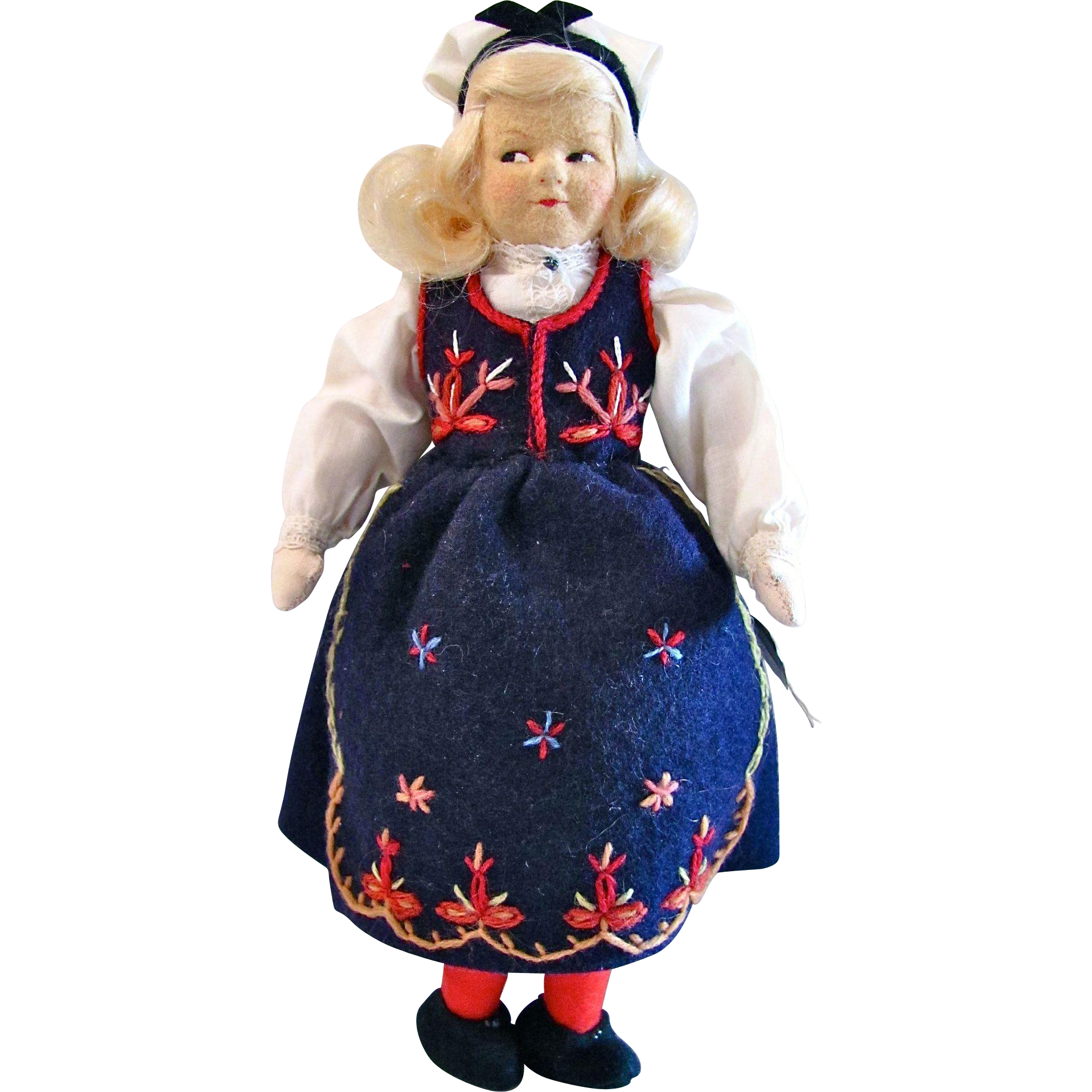 Ronnaug Petterssen Handmade Felt Doll, Norway, Post World War II