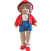 Chad Valley Bambina, 14-Inch Doll, All Original, Vintage 1920s