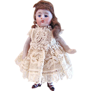 German All-Bisque Dollhouse Doll, Miniature Doll Dressed in Lace