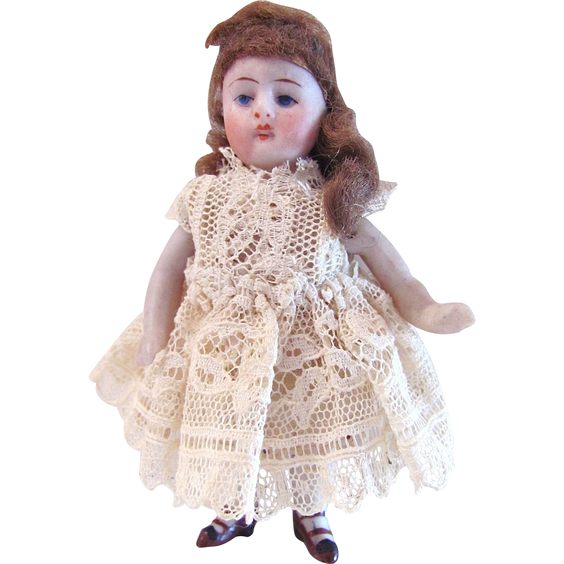 Antique German All-Bisque Dollhouse Doll, Miniature Doll Dressed in Lace