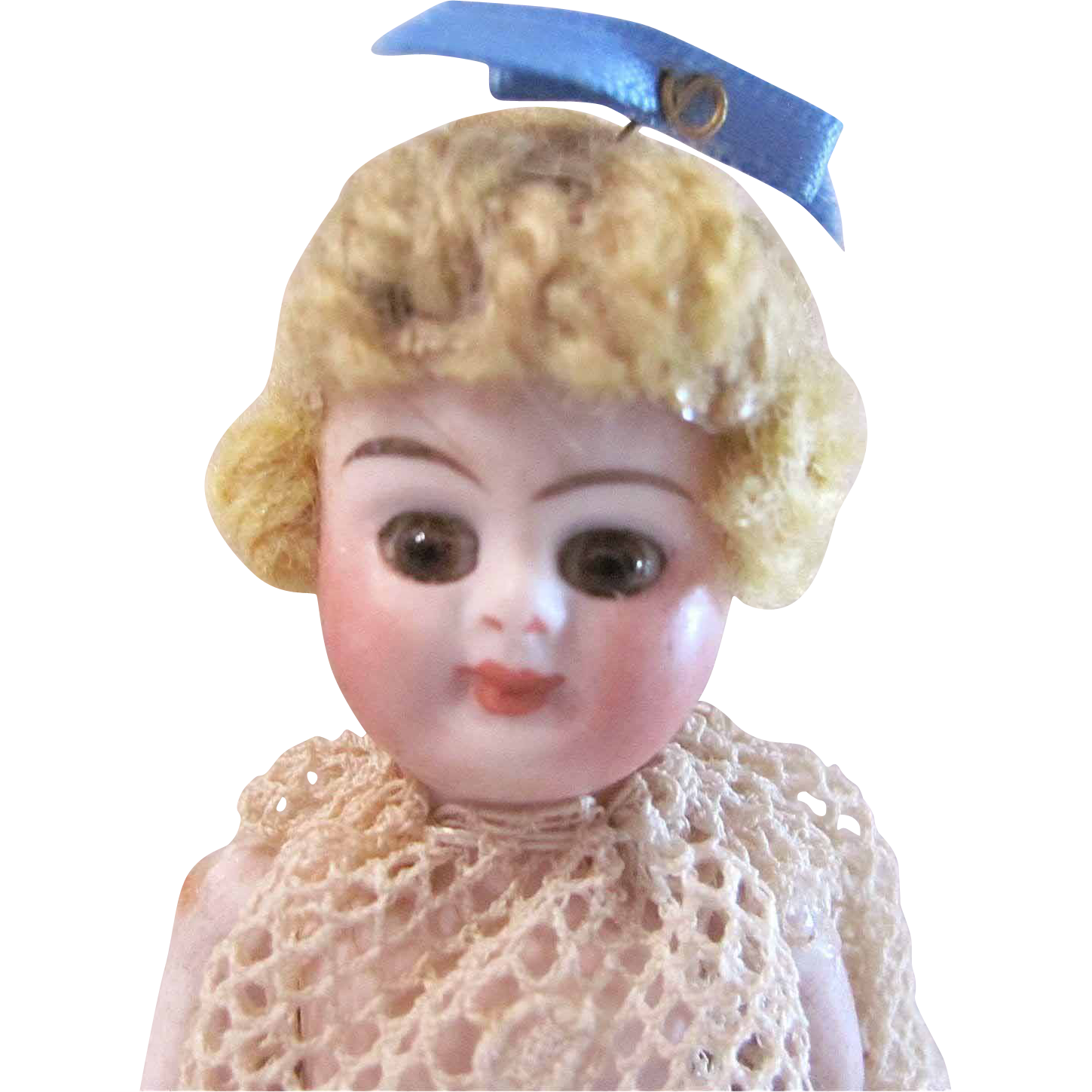 All-Bisque Dollhouse Doll With Brown Glass Eyes, Miniature Doll In Lace Dress, Circa 1900s