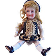 All-Bisque Dollhouse Doll With Tiny Kewpie Baby Doll, Miniature Doll In Crochet Dress, Circa 1910s