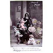 Tinted French Real Photo Post Card, Joyeux Noel, Pere Noel, Beautiful Children, Bisque Doll, Toys, Vintage 1910s, Divided Back, Stamp and Postmark