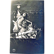 French RPPC, Little Angels, Airplane, Doll, Christmas Tree, Sepia Real Photo Postcard, Bonne Annee, Divided Back, Unused