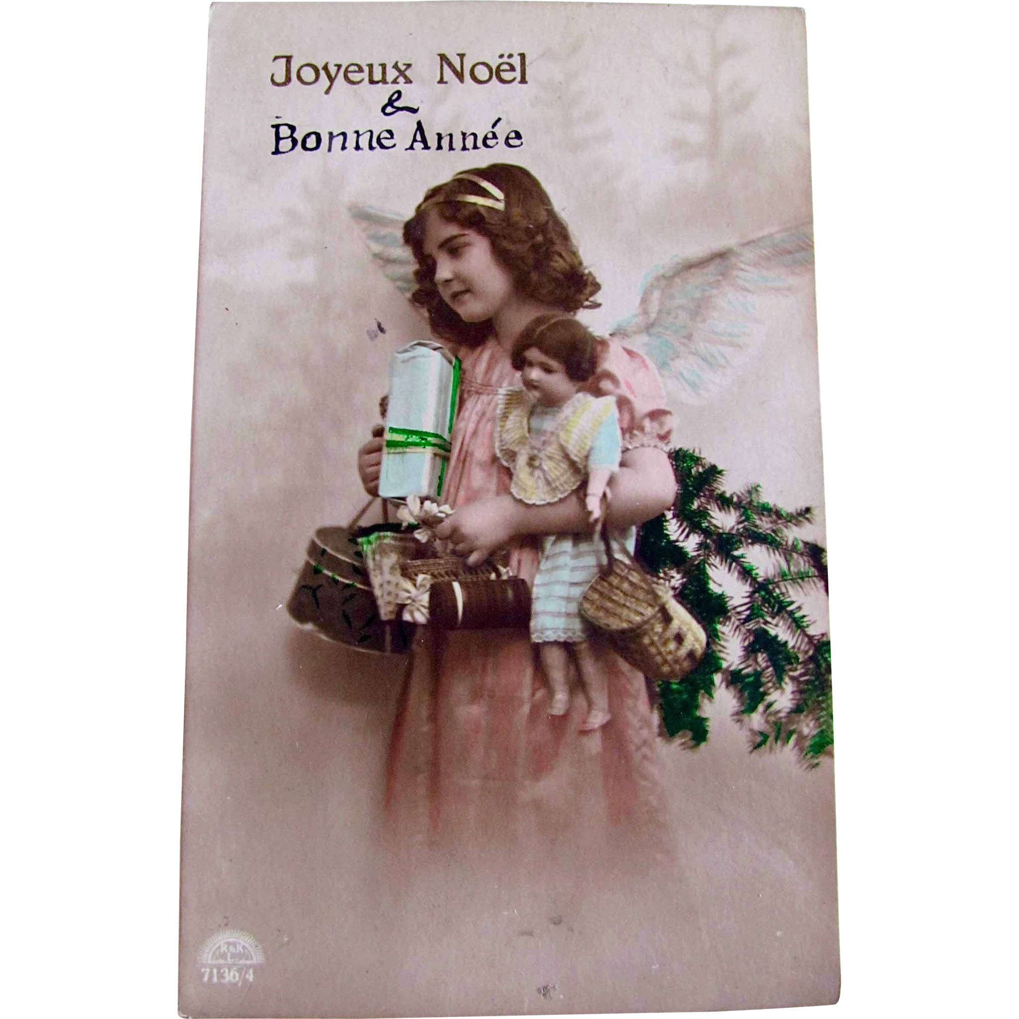 Tinted French RPPC, Little Angel Girl, Doll, Hatbox, Wrapped Gifts, Christmas Tree, Real Photo Postcard, Joyeux Noel & Bonne Annee, Divided Back, Stamp and Postmark
