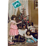 Tinted French RPPC, Little Girls, Doll, Toys, Automaton, Decorated Christmas Tree, Embossed Real Photo Postcard, Joyeux, Divided Back, Stamp and Postmark