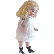 All-Bisque Dollhouse Doll, Made In Germany,  Blue Glass Eyes, Miniature Doll, Circa 1900s