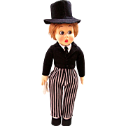 Lenci 19 Inch Doll, Boy in Formal Attire with Top Hat, Italian Felt Character Doll, Vintage 1931, All Original