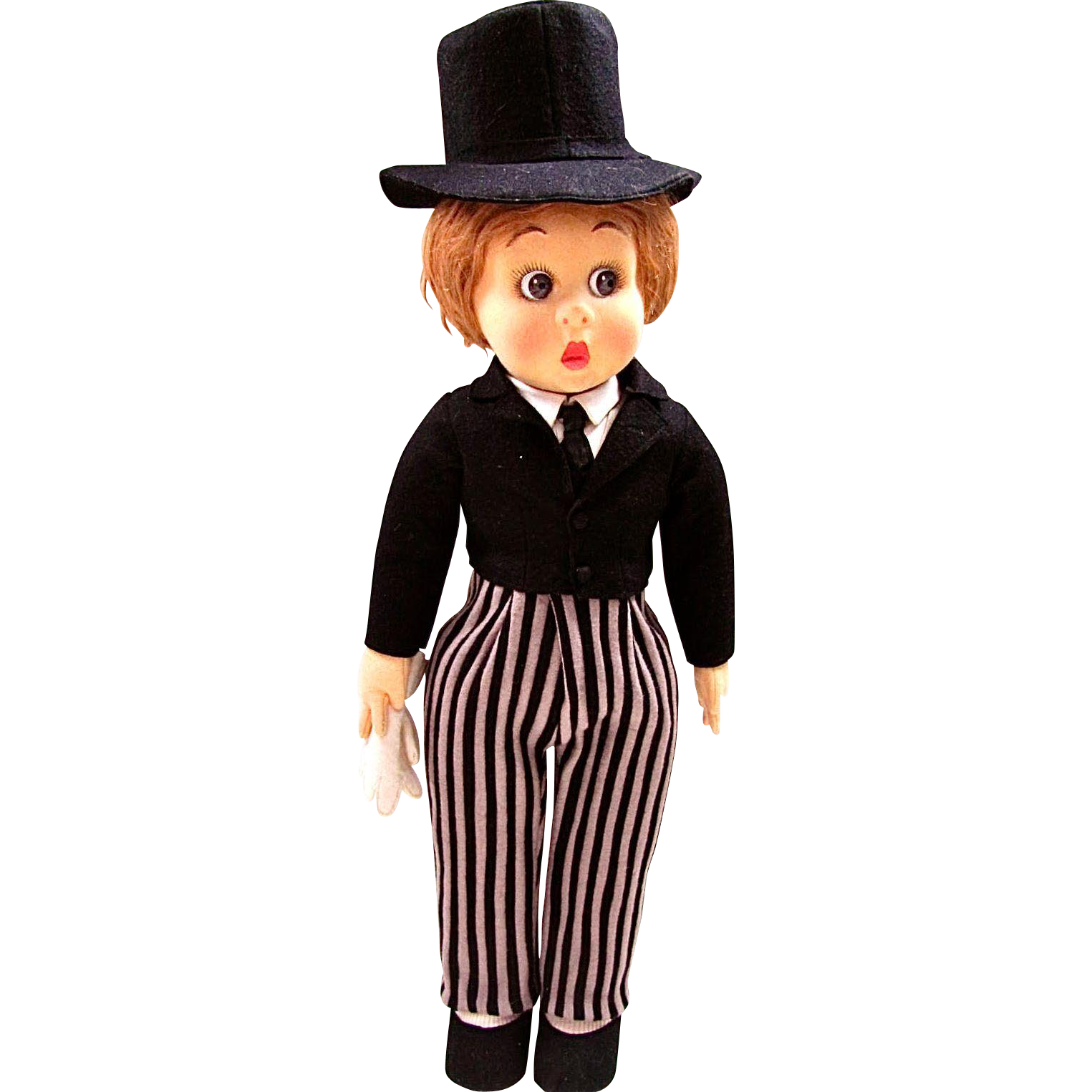 Lenci 19 Inch Doll, Boy in Formal Attire with Top Hat, Italian Felt Character Doll, Vintage 1931, All Original