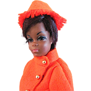 Julia Doll Wearing Fiery Felt Fashion, Mattel, Friend of Barbie, Vintage 1969 - 1971