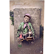 French Tinted Real Photo Postcard, Little Boy, Santa Doll, Angel Doll, Puppets, Drum and Horn, Merry Christmas, Postmarked 1912