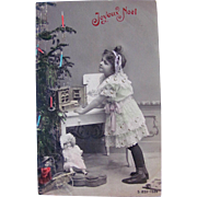 French Tinted Real Photo Postcard, Little Girl, Toy Grocery, 2 Bisque Dolls & Decorated Christmas Tree, Circa 1910s