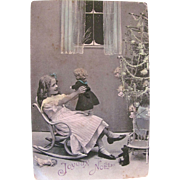 French Christmas RPPC, Little Girl with Dolls, Teddy Bear and Decorated Tree, Hand Tinted Real Photo Postcard, Vintage 1910s