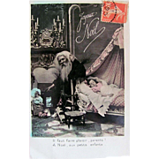 Hand Tinted French Postcard, Santa Delivers a Doll for Sleeping Child, Merry Christmas, Circa 1910s
