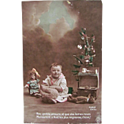 Christmas Morning, Hand Tinted French Real Photo Postcard, Little Girl, Doll, Teddy Bears, Toy Stove and Tree, Circa 1910s