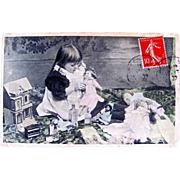 Tinted French Real Photo Postcard, Little Girl, Dollhouse, Dolls and Toys, Postmarked 1907
