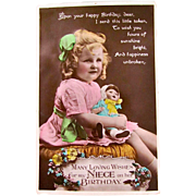 British Birthday Card, Lovely Little Girl With Baby Doll, Tinted Real Photo Postcard, Postmarked 1931