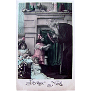 French Christmas Postcard, 2 Little Girls, 2 Pretty Dolls, Tinted French RPPC, Vintage 1910s