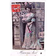 Edwardian Woman with Dolls, Merry Christmas, Hand Tinted French Real Photo Postcard Postmarked 1910